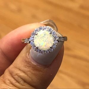 Opal Sterling Silver CZirconia Ring